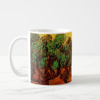 Van Gogh Olive Trees with Yellow Sky Sun, Fine Art Basic White Mug