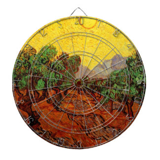 Van Gogh Olive Trees Yellow Sky Sun Vintage Art Dart Boards