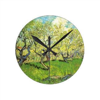 Van Gogh Orchard in Blossom, Vintage Fine Art Wallclocks