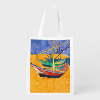Van Gogh Painting Famous Boats Reusable Grocery Bag