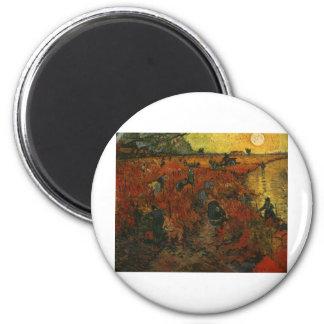 Van Gogh Painting: The Red Vineyard 6 Cm Round Magnet
