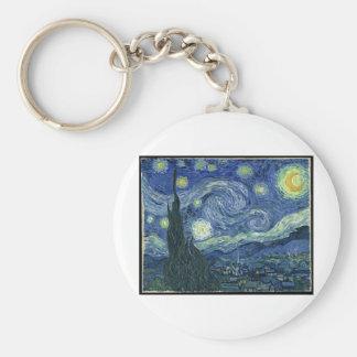 Van Gogh Paintings: Starry Night Van Gogh Basic Round Button Key Ring