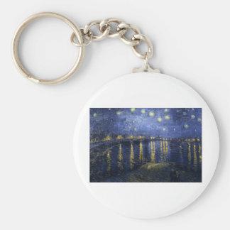 Van Gogh Paintings: Starry Night Van Gogh Rhone Basic Round Button Key Ring