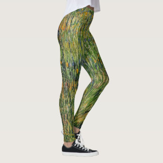 Van Gogh Pasture in Bloom, Vintage Nature Fine Art Leggings