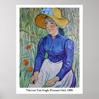 Van Gogh: Peasant Girl, 1890. Art Poster