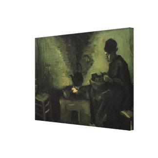 Van Gogh; Peasant Woman by Fireplace, Vintage Art Canvas Print