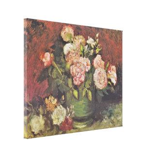 Van Gogh Peonies and Roses Floral Art GalleryHD Canvas Print