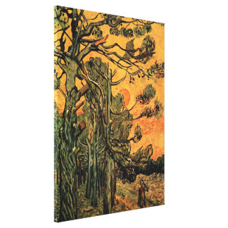Van Gogh Pine Trees Against Red Sky w Setting Sun Canvas Print