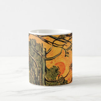 Van Gogh Pine Trees Against Red Sky w Setting Sun Coffee Mug