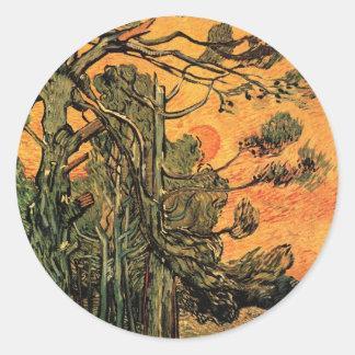 Van Gogh Pine Trees Against Red Sky w Setting Sun Sticker