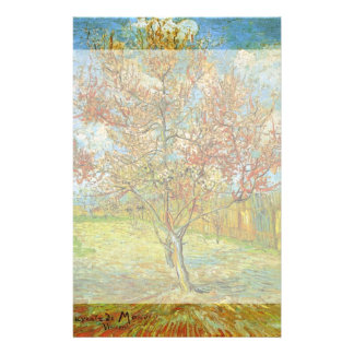 Van Gogh Pink Peach Tree in Blossom, Fine Art Personalized Stationery