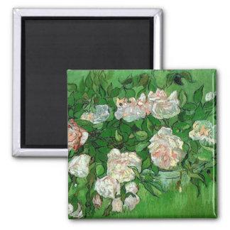 Van Gogh Pink Rose Flowers, Vintage Still Life Art Refrigerator Magnet