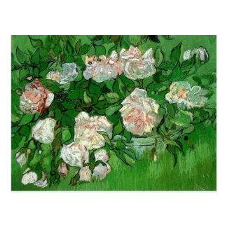 Van Gogh Pink Rose Flowers, Vintage Still Life Art Postcards