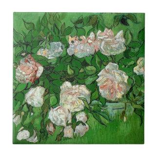 Van Gogh Pink Rose Flowers, Vintage Still Life Art Small Square Tile