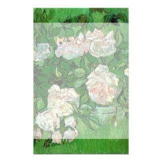 Van Gogh Pink Rose Flowers, Vintage Still Life Art Custom Stationery