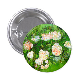Van Gogh Pink Roses Button