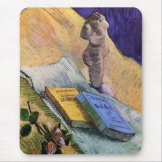 Van Gogh, Plaster Statuette, a Rose and Two Novels Mouse Pad