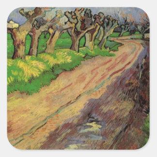 Van Gogh Pollard Willows, Vintage Landscape Art Square Sticker