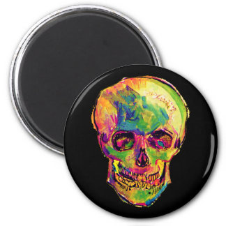 Van Gogh - Pop Art Skull 2 Inch Round Magnet