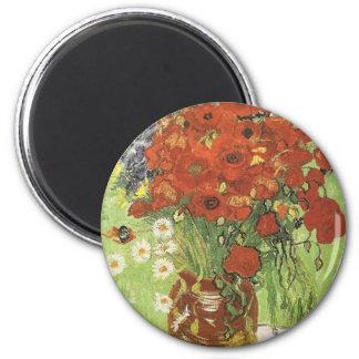 Van Gogh Poppies 6 Cm Round Magnet