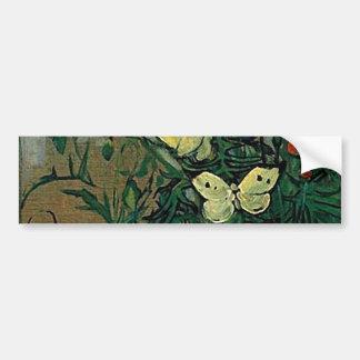 Van Gogh Poppies and Butterflies (F748) Fine Art Bumper Sticker