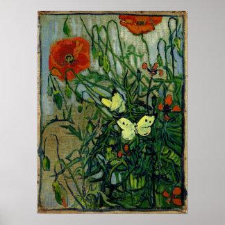 Van Gogh Poppies and Butterflies(F748) Fine Art Poster