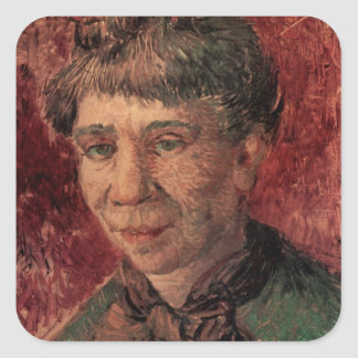 Van Gogh; Portrait of a Woman (Madame Tanguy?) Square Sticker