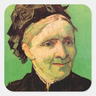 Van Gogh; Portrait of Artist's Mother, Vintage Art Square Sticker