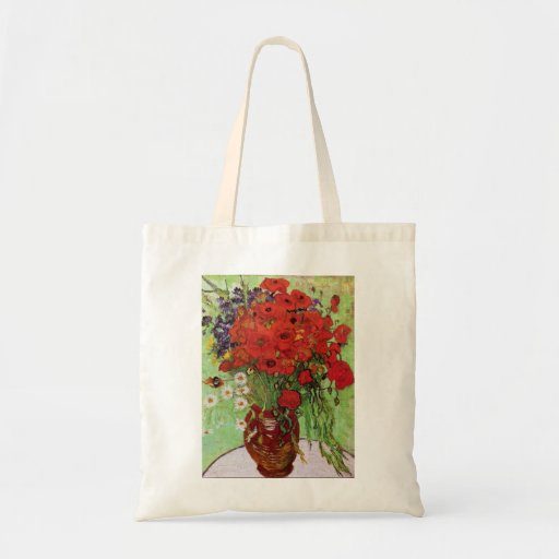 Van Gogh Red Poppies and Daisies Canvas Bag