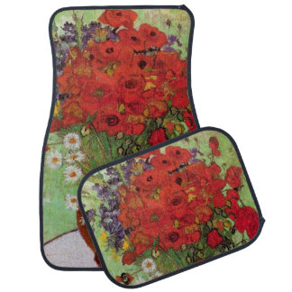 Van Gogh Red Poppies and Daisies, Fine Art Flowers Car Mat