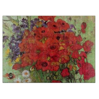 Van Gogh Red Poppies and Daisies, Fine Art Flowers Cutting Board