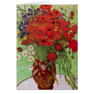 Van Gogh Red Poppies and Daisies, Fine Art Flowers Greeting Card