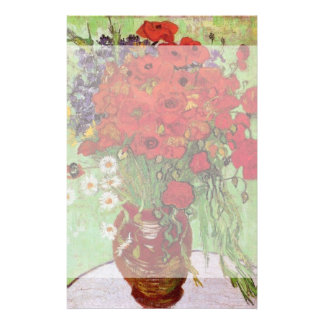 Van Gogh Red Poppies and Daisies, Fine Art Flowers Stationery Design