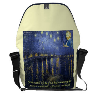 Van Gogh Rhone Starry Night & Quote Messenger Bag