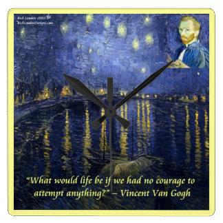 Van Gogh Rhone Starry Night & Quote Wall Clock