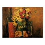 Van Gogh Romantic Fine Art with Roses and Wine Postcard