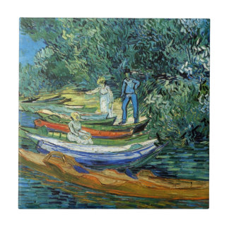 Van Gogh Rowing Boats on the Banks of the Oise Small Square Tile