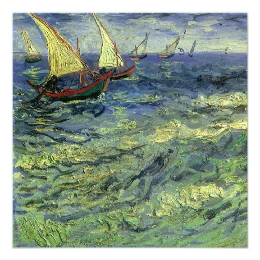Van Gogh Seascape at Saintes-Maries Birthday Party Personalized Invitations