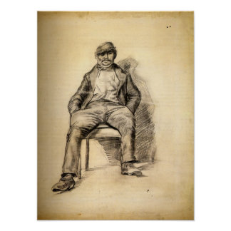Van Gogh - Seated Man with a Moustache and Cap Poster