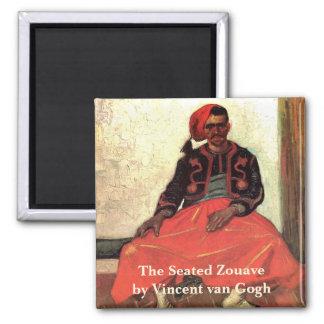Van Gogh, Seated Zouave, Vintage Impressionism Art Square Magnet