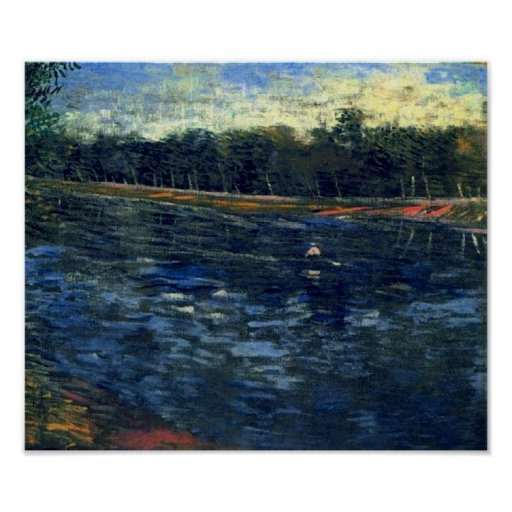 Van Gogh Seine with a Rowing Boat Poster