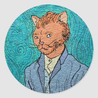 Van Gogh Self-Portrait Catsterpiece Classic Round Sticker