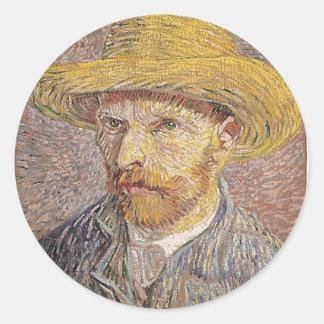 Van Gogh self portrait Classic Round Sticker