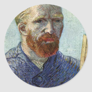 Van Gogh Self Portrait. Classic Round Sticker