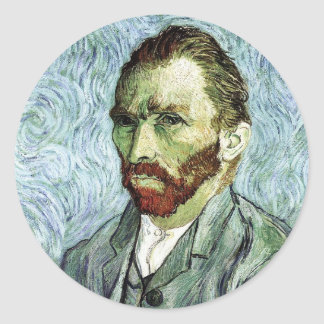Van Gogh Self-Portrait Classic Round Sticker