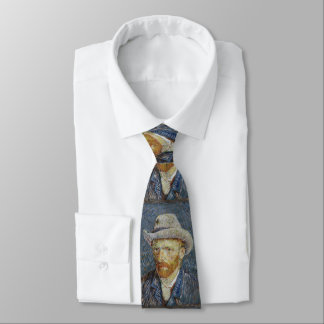 Van Gogh Self Portrait Grey Felt Hat Painting Art Tie