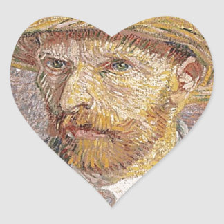 Van Gogh self portrait Heart Sticker