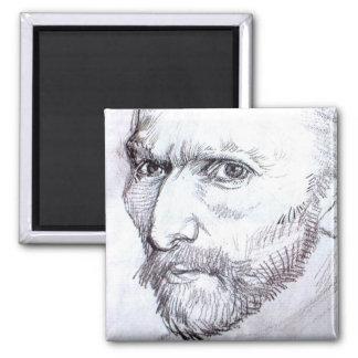 Van Gogh Self-Portrait Square Magnet