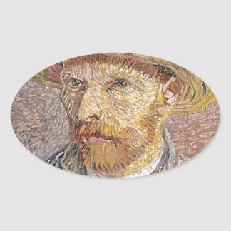 Van Gogh self portrait Oval Sticker