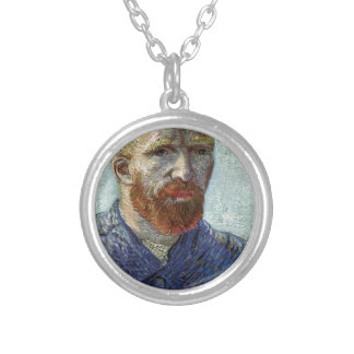 Van Gogh Self Portrait. Silver Plated Necklace